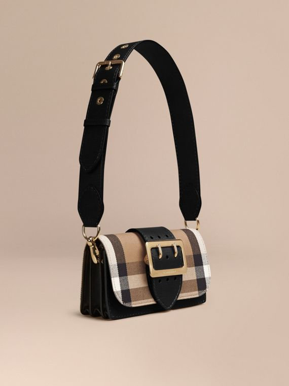 Borsa The Buckle piccola con motivo House check e pelle Nero