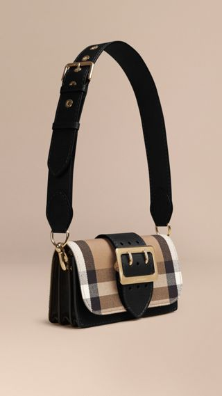 Borsa The Buckle con motivo House check e pelle