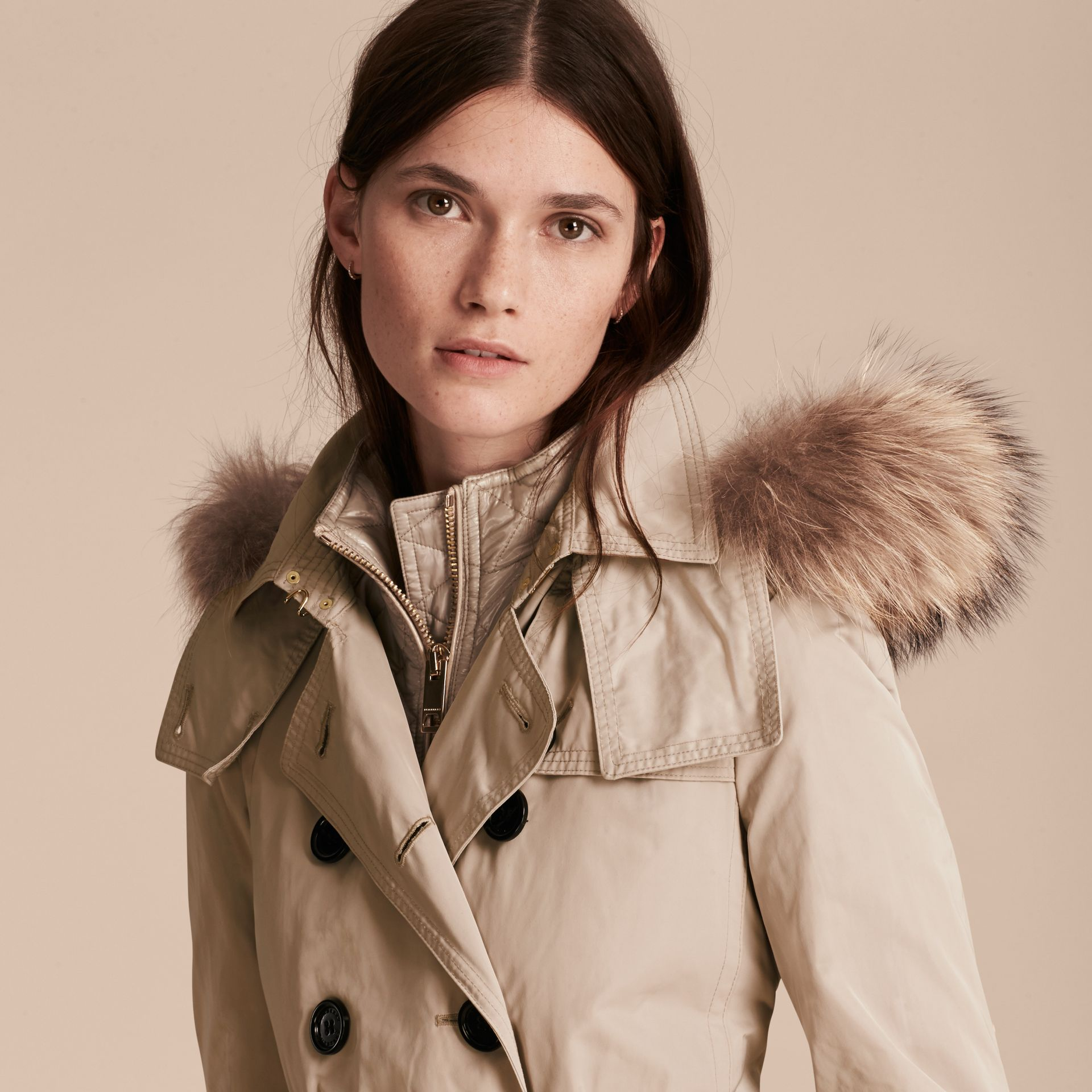 Stone Raccoon Fur Trim Hood Trench Coat with Gilet - gallery image 5