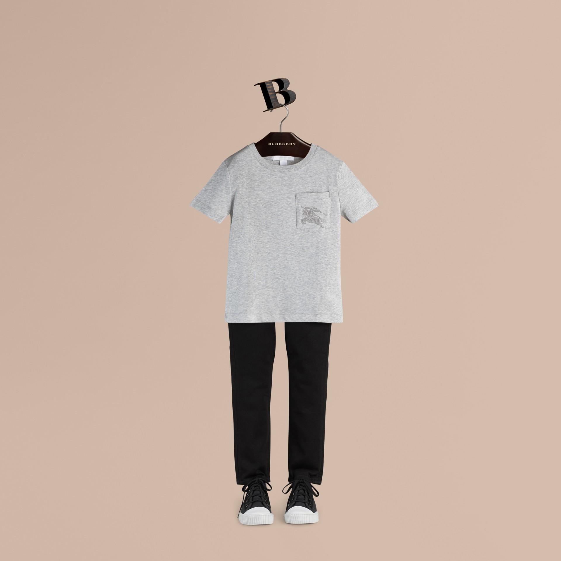 Mezcla de gris Camiseta de algodón con cuello redondo Mezcla  Gris - imagen de la galería 1