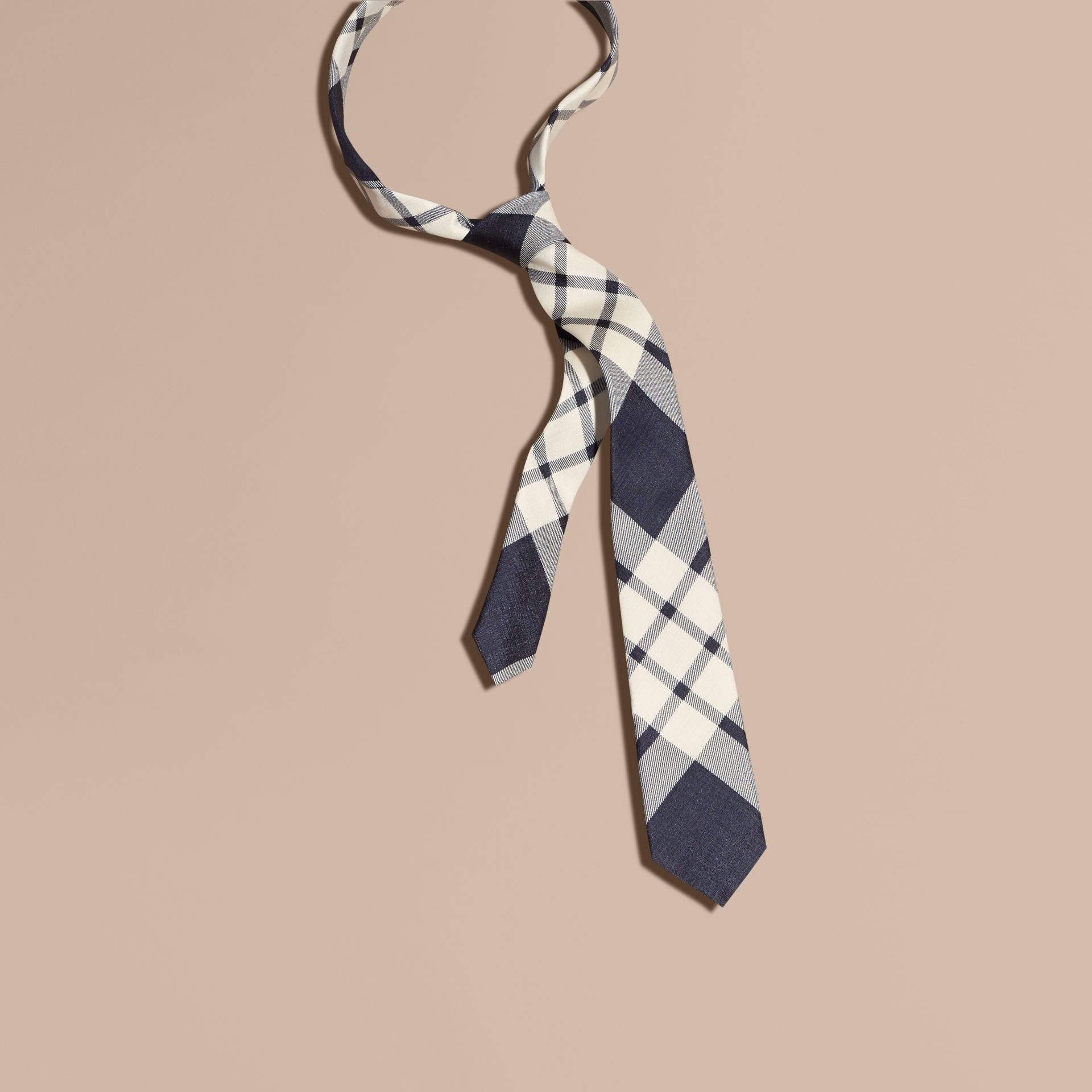 Slim Cut Check Silk Tie Black - gallery image 1