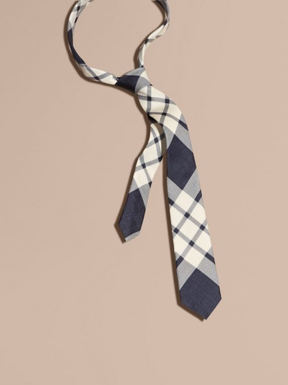 Slim Cut Check Silk Tie Black