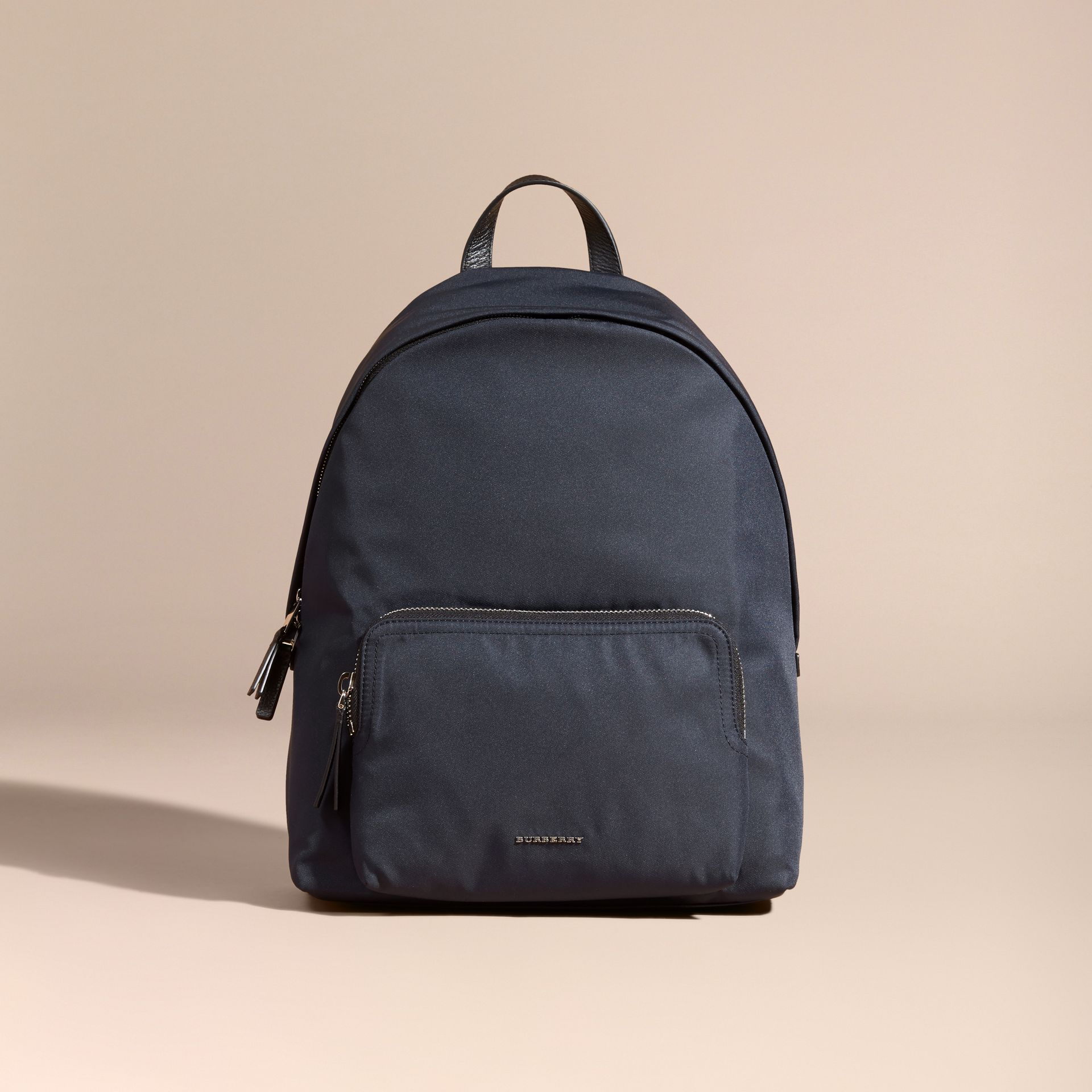 Dark navy Leather Trim Nylon Backpack - gallery image 8