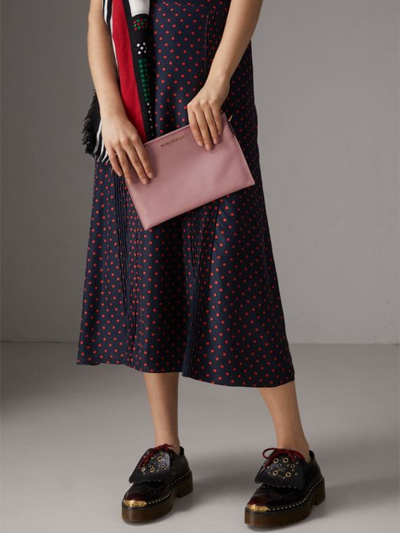 Leather Clutch Bag with Check Lining in Dusty Pink - Women | Burberry United Kingdom - cell image 3