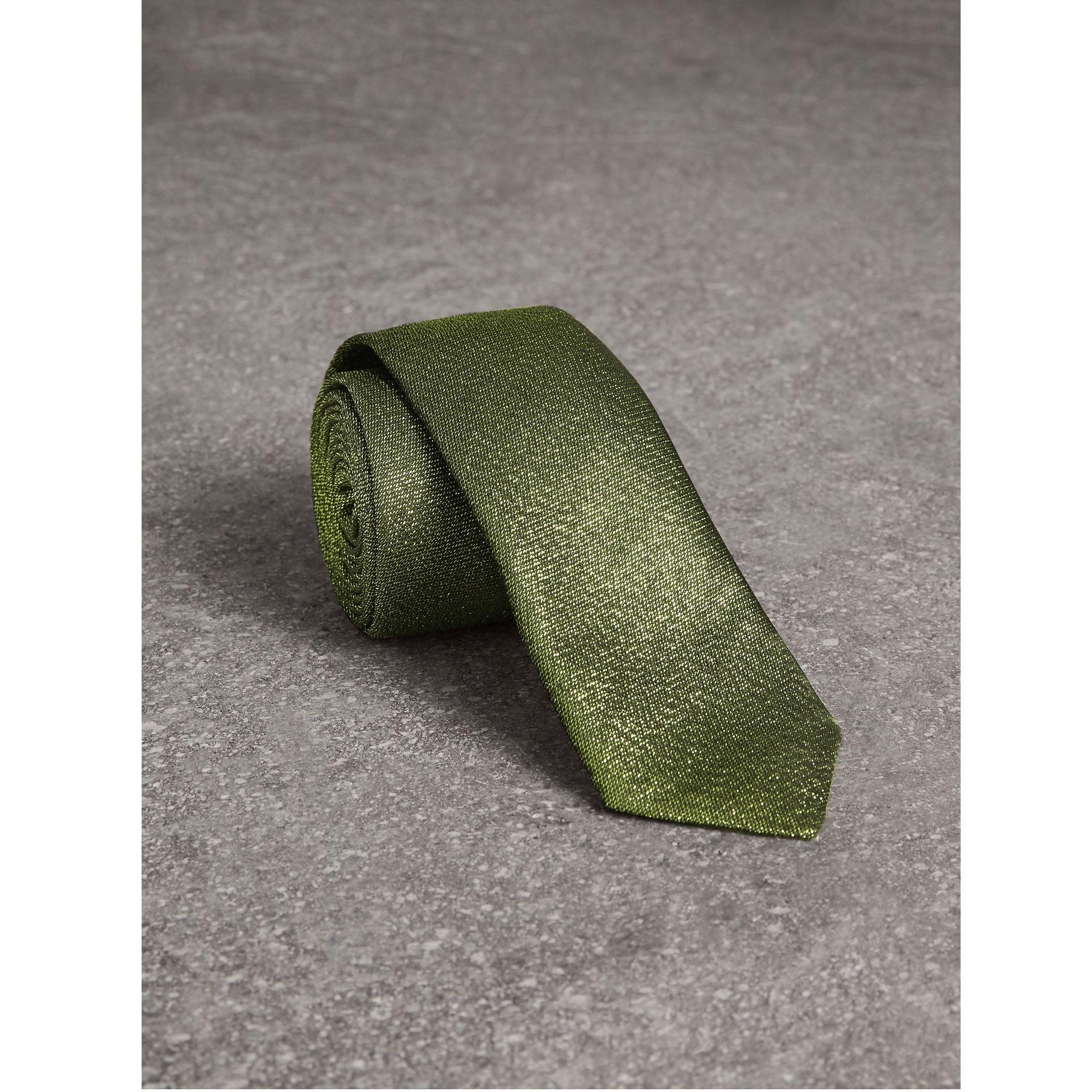 Slim Cut Metallic Silk Blend Tie in Tourmaline Green - Men | Burberry United States - gallery image 0