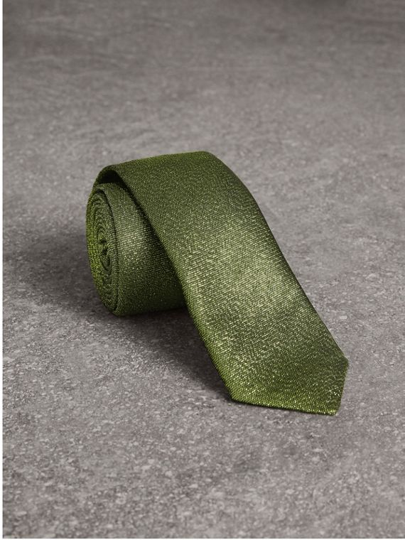 Slim Cut Metallic Silk Blend Tie in Tourmaline Green
