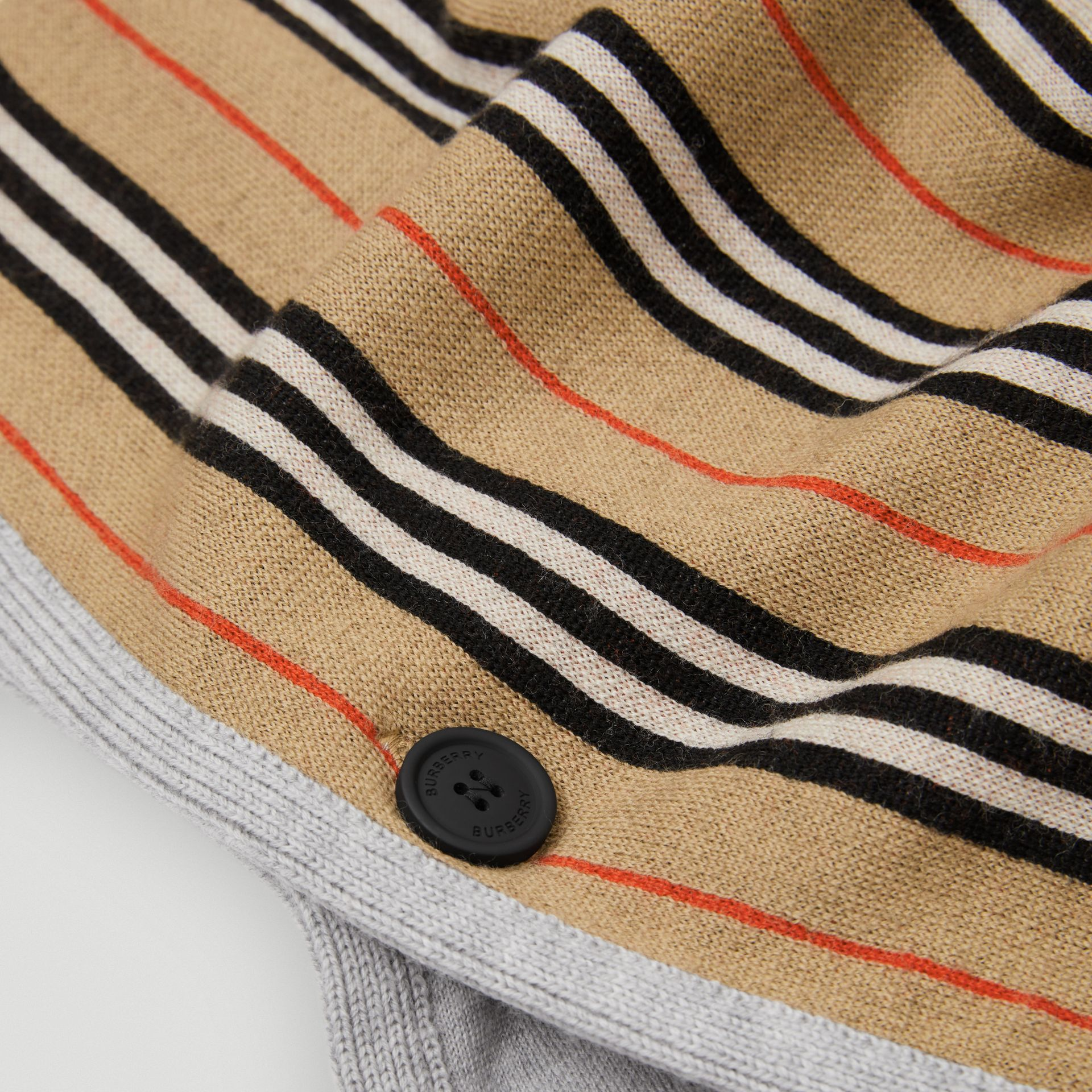 Reversible Icon Stripe Merino Wool Hooded Poncho in Archive Beige - Girl | Burberry - gallery image 1