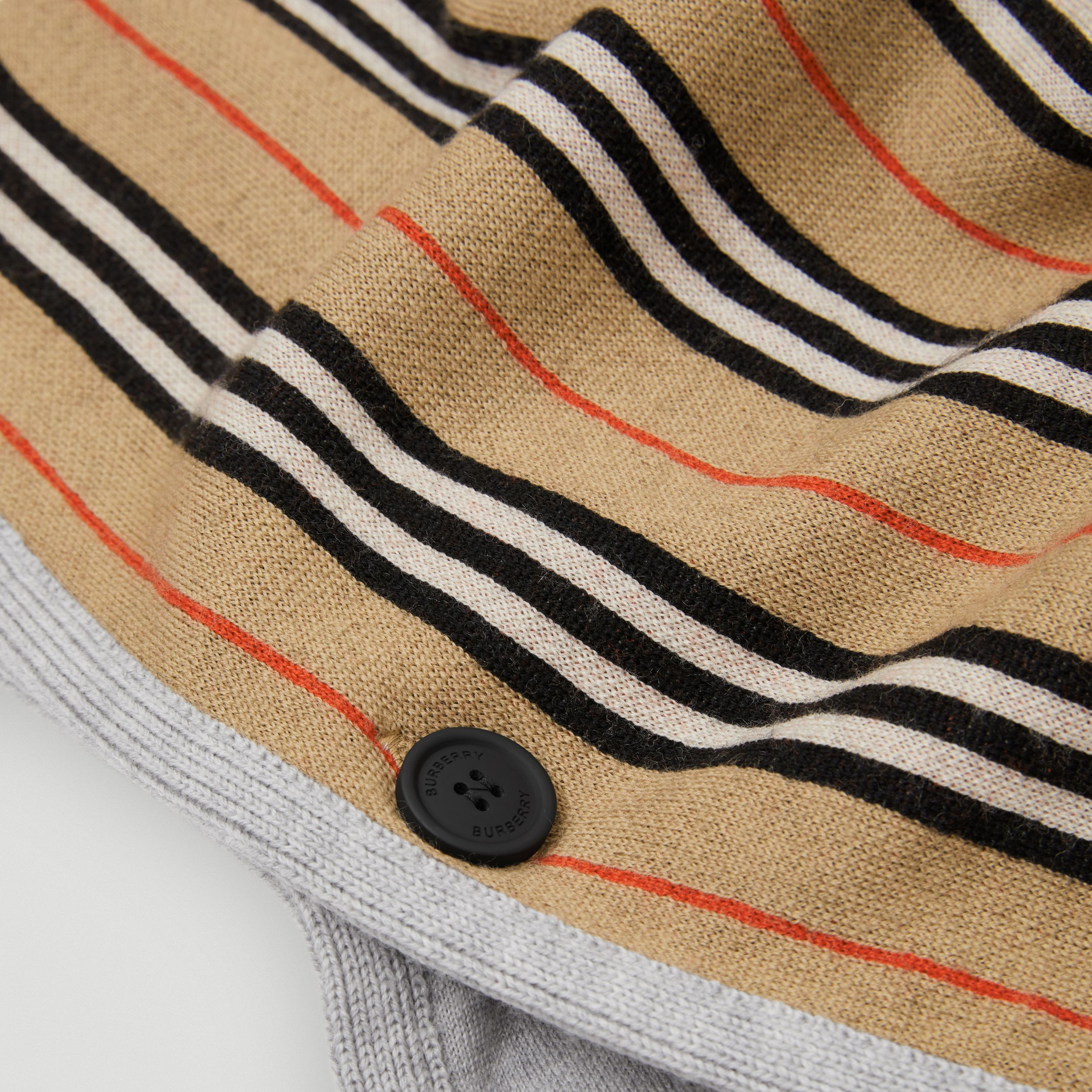 Reversible Icon Stripe Merino Wool Hooded Poncho in Archive Beige | Burberry - 2