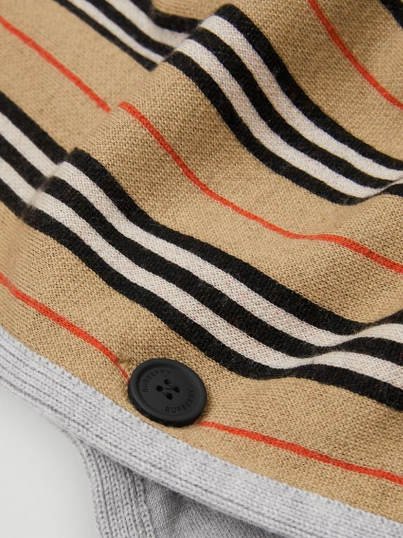 Reversible Icon Stripe Merino Wool Hooded Poncho in Archive Beige | Burberry - cell image 1