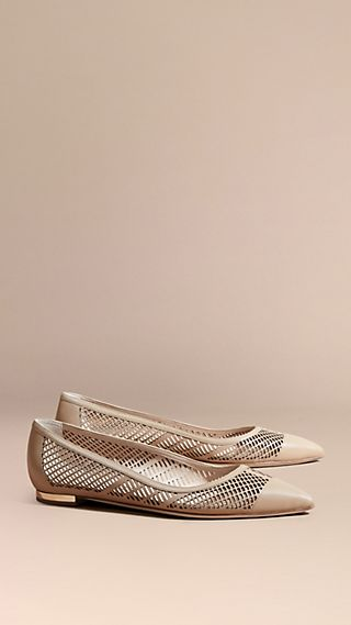 Laser-cut Leather Ballerinas