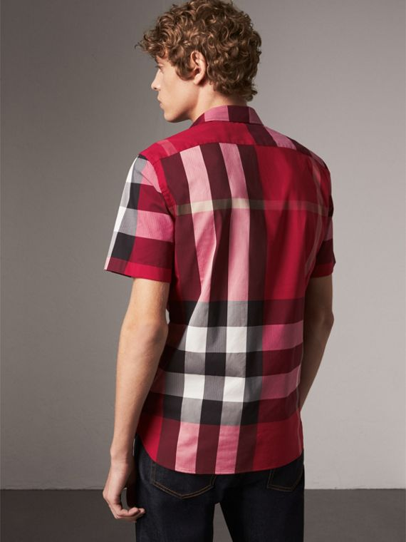 Short-sleeve Check Stretch Cotton Blend Shirt in Parade Red - Men | Burberry - cell image 2