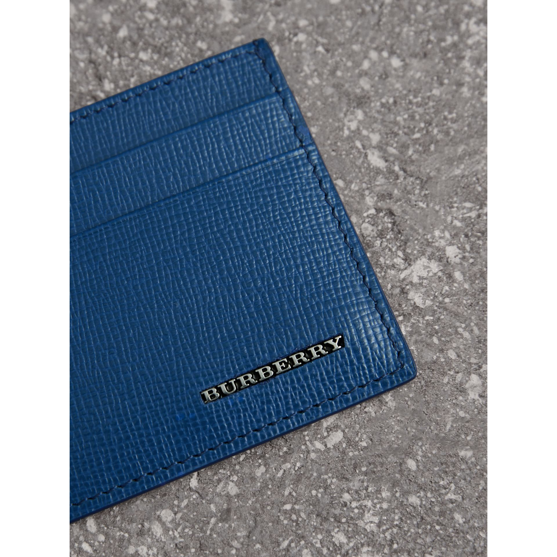 London Leather Card Case in Deep Blue - Men | Burberry - gallery image 1