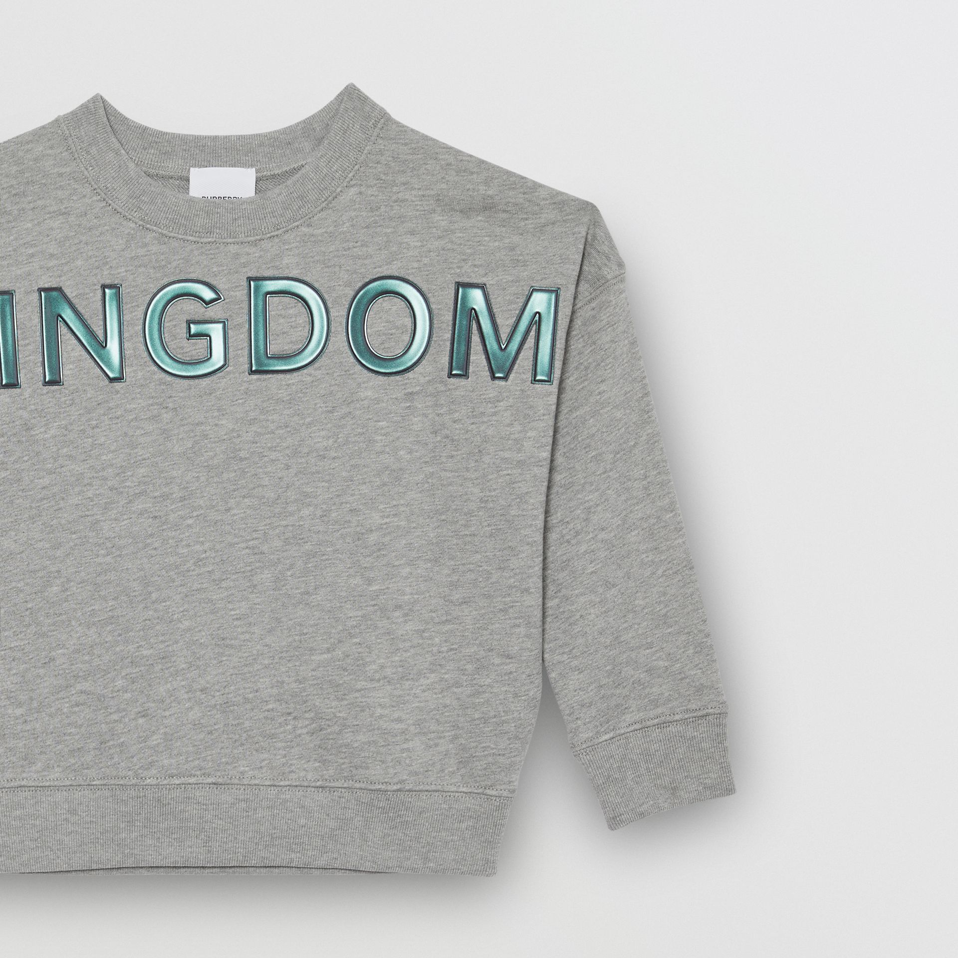 Kingdom Motif Cotton Sweatshirt in Grey Melange | Burberry - gallery image 4
