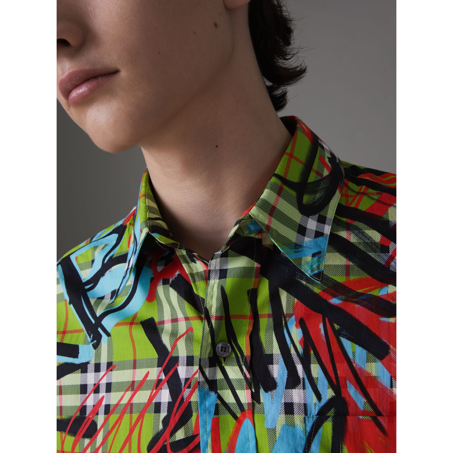 Short-sleeve Graffiti Print Check Cotton Shirt in Bright Green - Men | Burberry Australia - gallery image 1