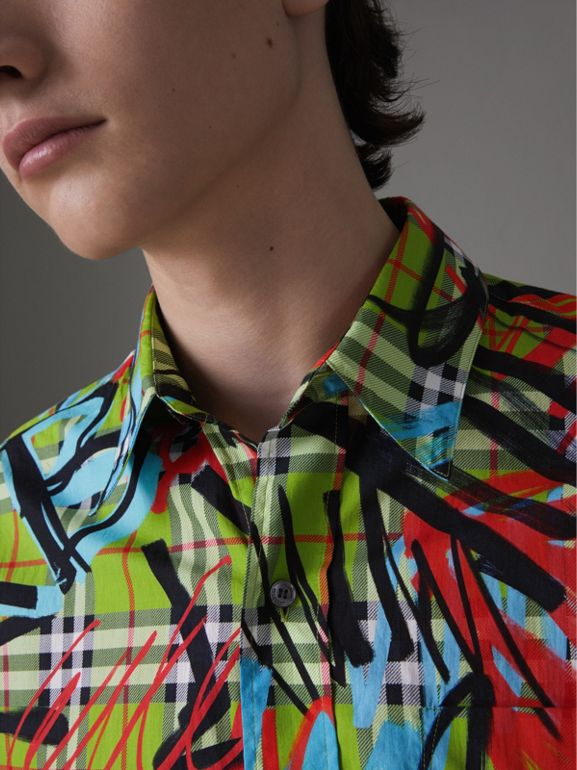 Short-sleeve Graffiti Print Check Cotton Shirt in Bright Green - Men | Burberry Australia - cell image 1