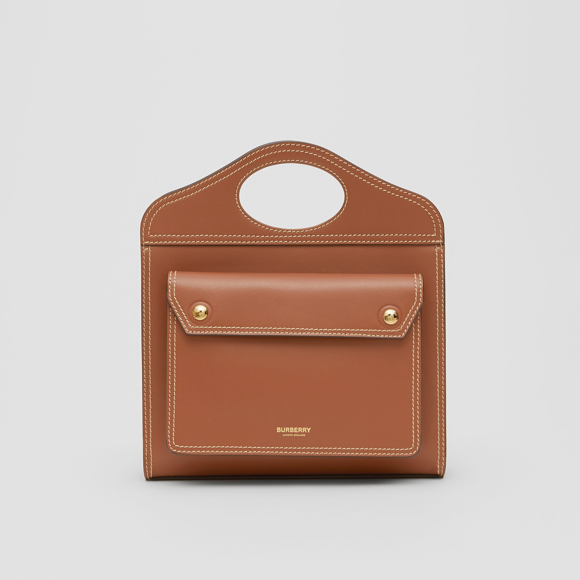 Mini Topstitch Detail Leather Pocket Bag in Malt Brown - Women | Burberry Hong Kong - gallery image 0