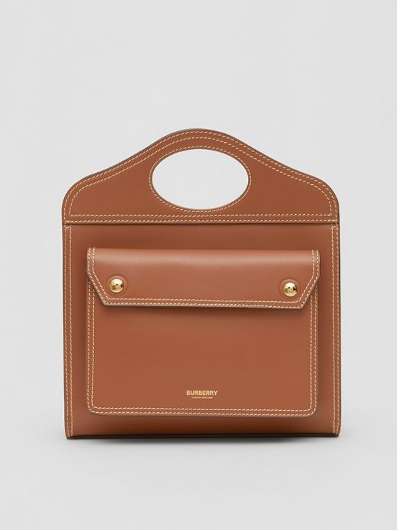 Mini Topstitch Detail Leather Pocket Bag in Malt Brown