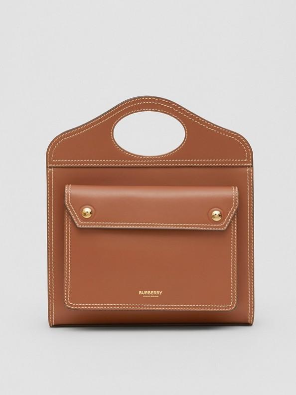 Mini Topstitch Detail Leather Pocket Bag in Malt Brown