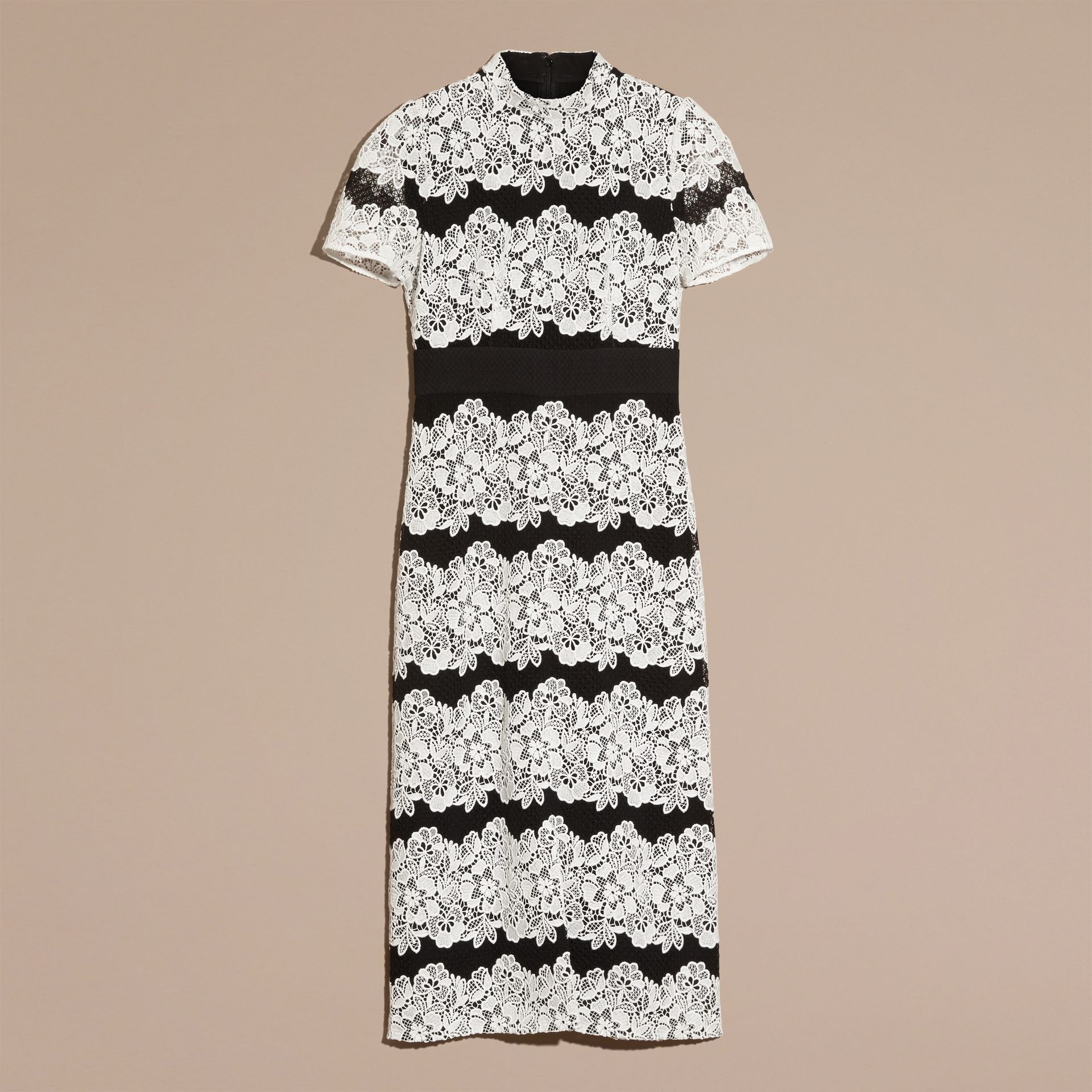 Black/white Mesh and Macramé Lace Shift Dress - gallery image 4