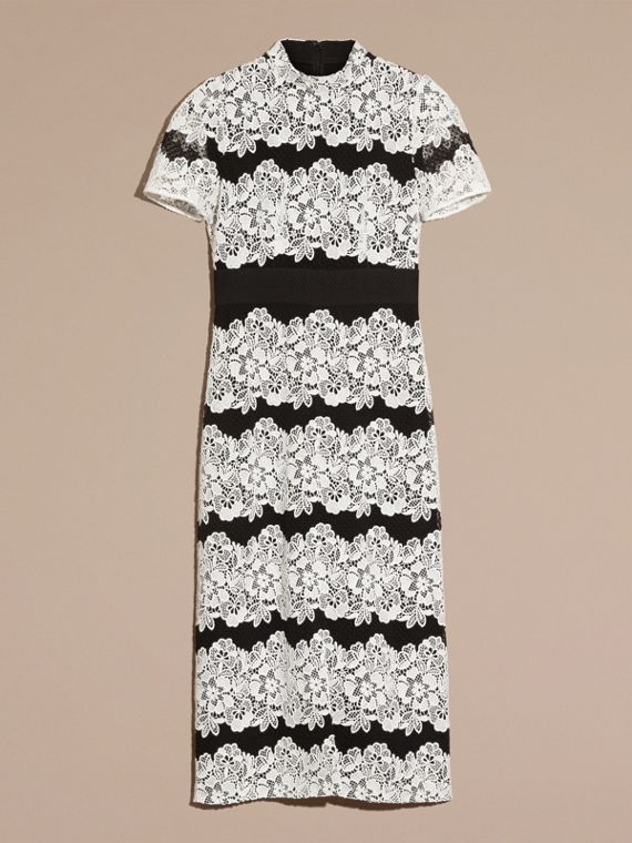 Black/white Mesh and Macramé Lace Shift Dress - cell image 3