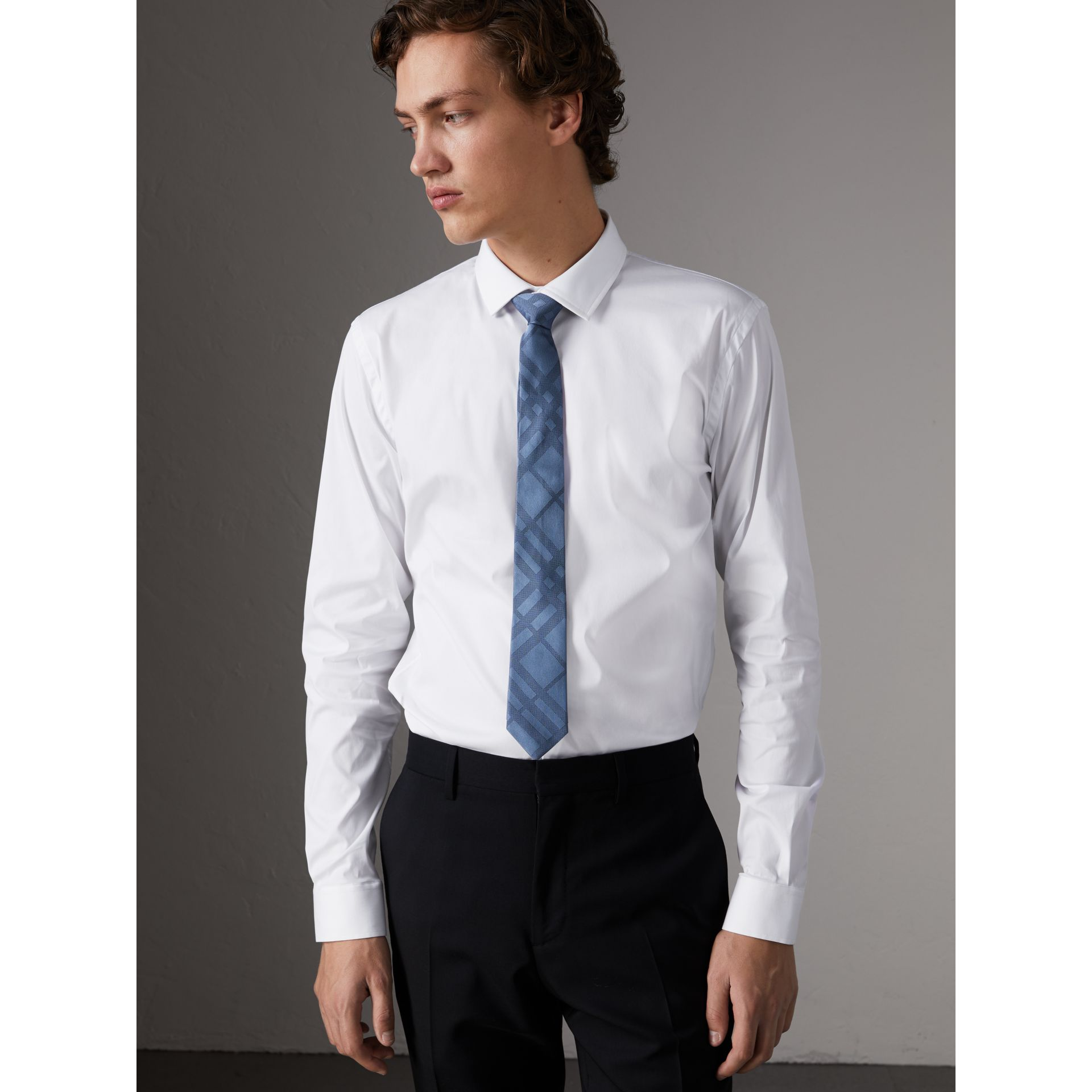 Slim Fit Stretch Cotton Poplin Shirt in White - Men | Burberry - gallery image 1