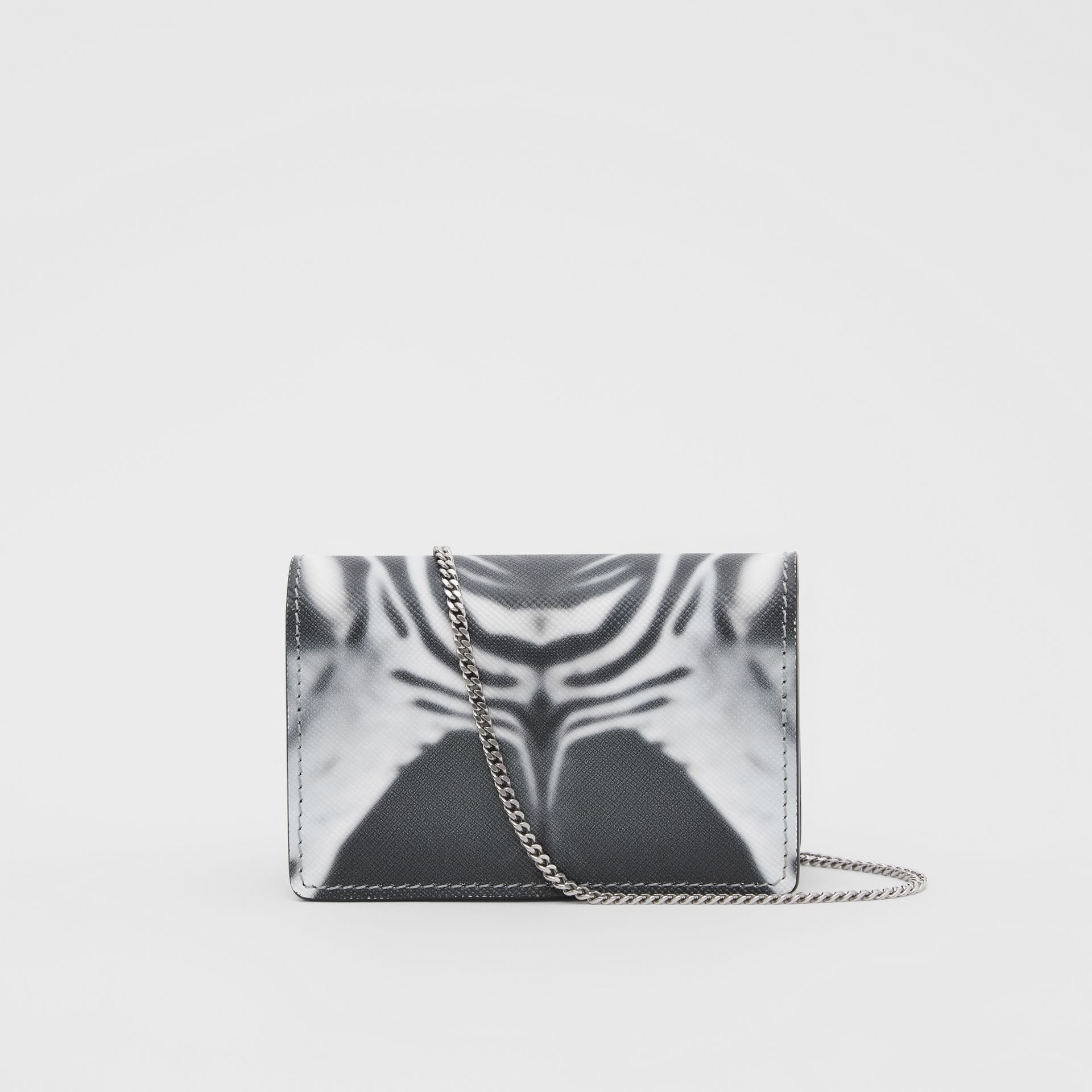 Zebra Print Leather Card Case with Detachable Strap in Black | Burberry - gallery image 9
