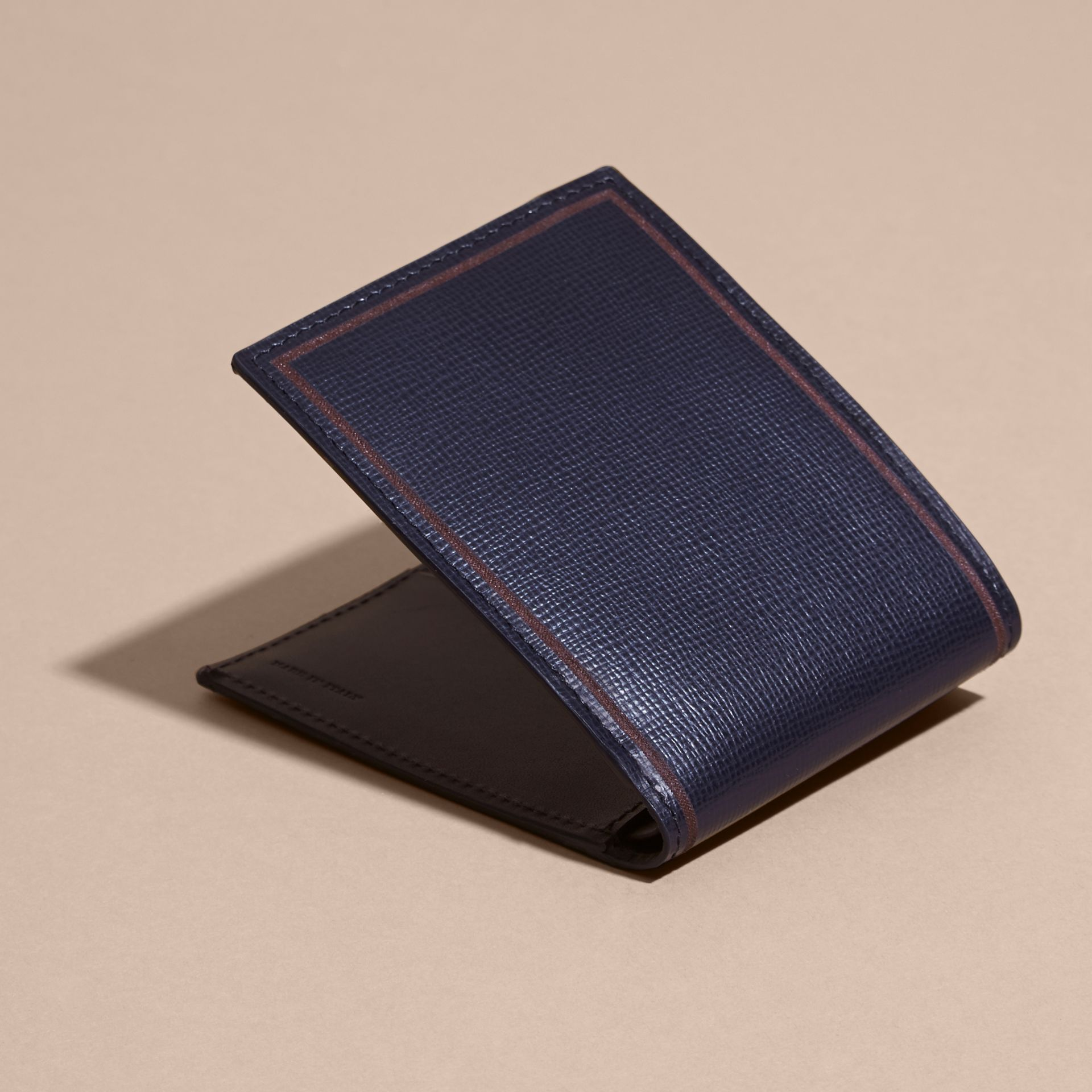 Border Detail London Leather Folding Wallet Dark Navy - gallery image 4