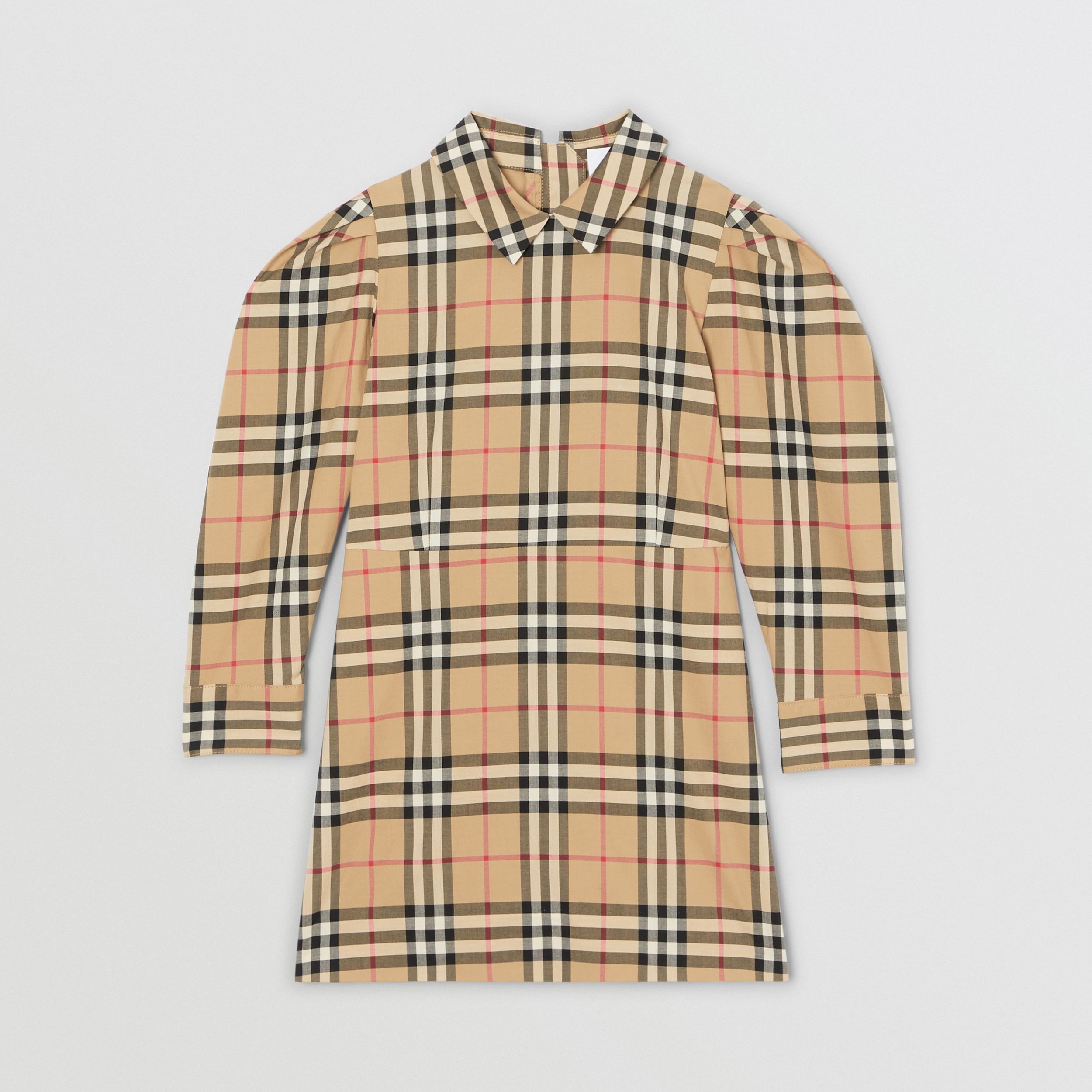 Puff-sleeve Vintage Check Cotton Dress in Archive Beige | Burberry - 1