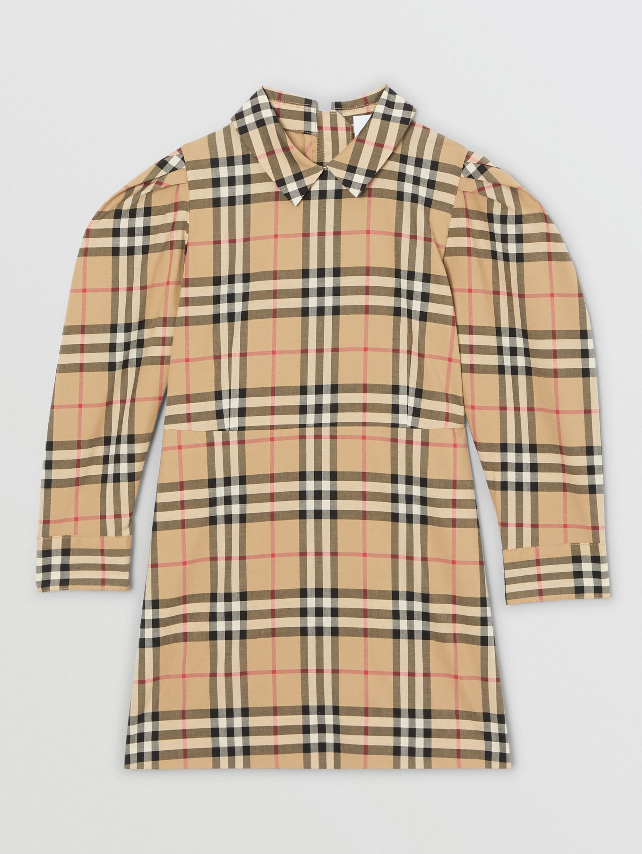 Puff-sleeve Vintage Check Cotton Dress (Archive Beige)
