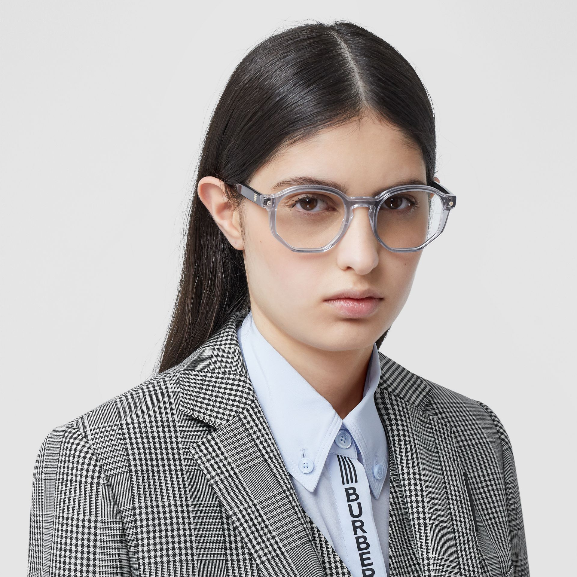 Geometric Optical Frames in Grey - Women | Burberry - gallery image 2