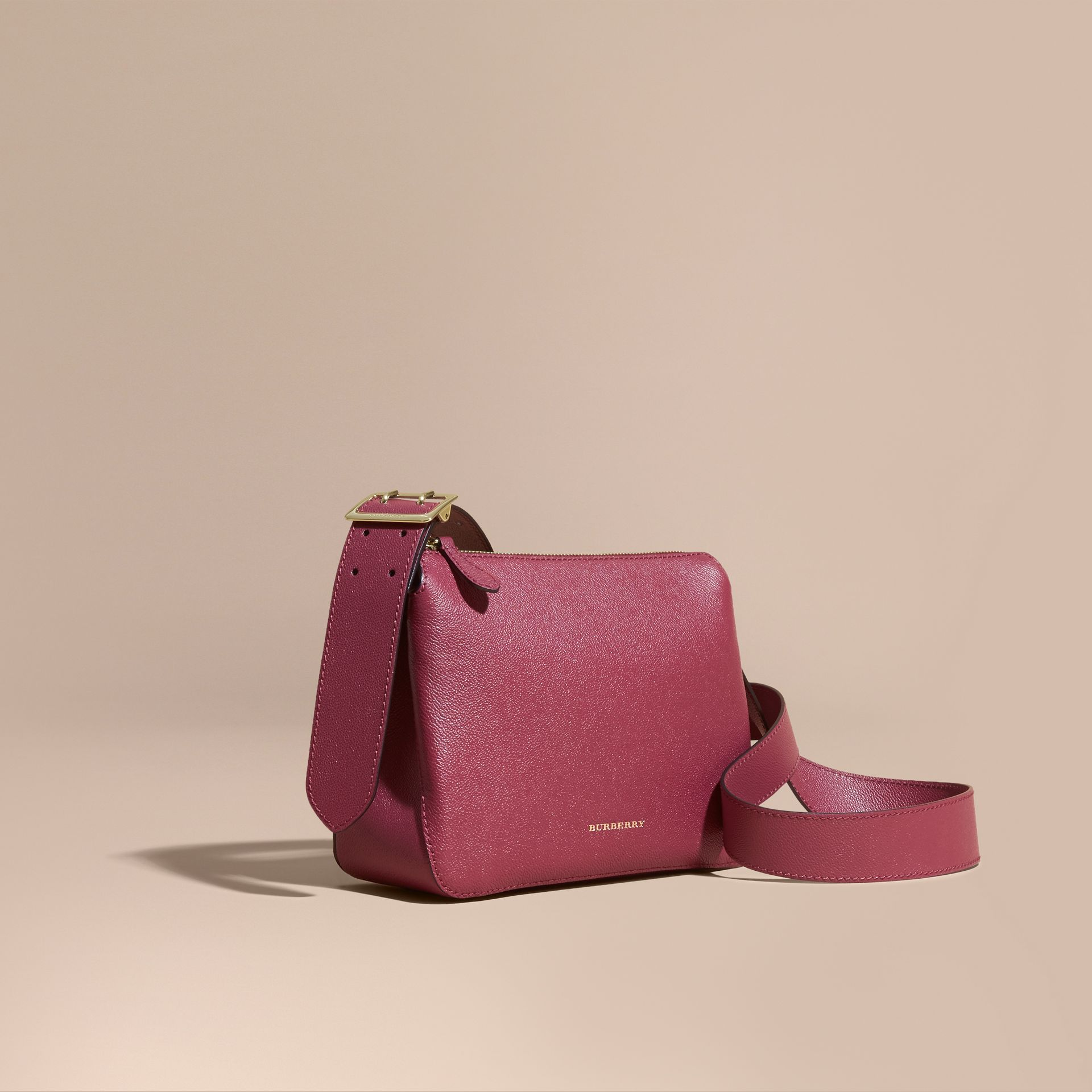 Buckle Detail Leather Crossbody Bag in Dark Plum - gallery image 1