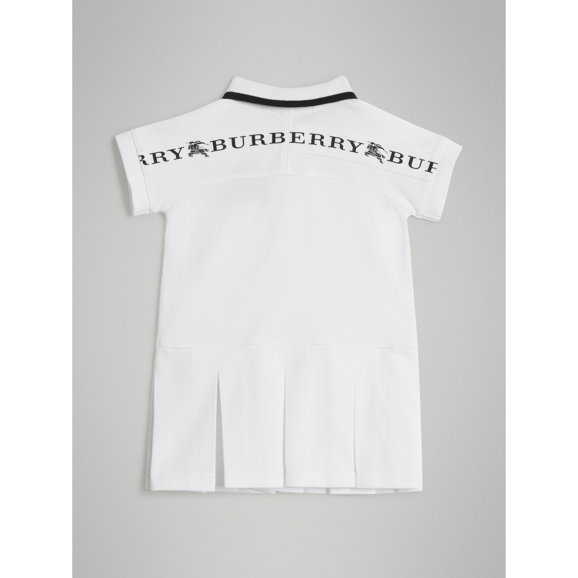 Logo Detail Tipped Cotton Polo Dress in White - Children | Burberry United States - gallery image 3