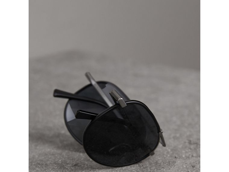 Folding Pilot Sunglasses in Black - Men | Burberry Australia - cell image 4