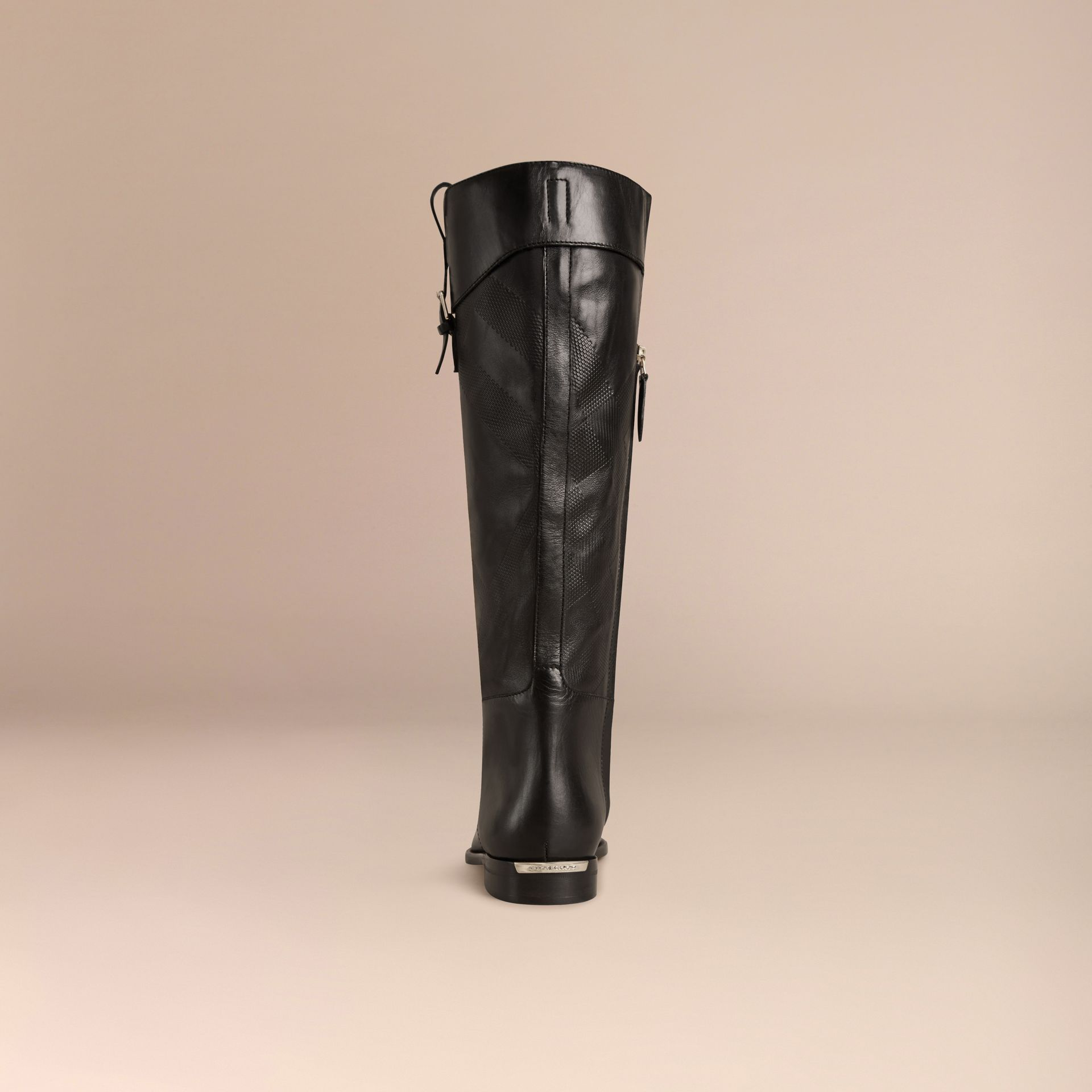Black Check Detail Leather Riding Boots - gallery image 4