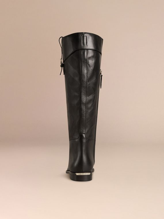 Black Check Detail Leather Riding Boots - cell image 3