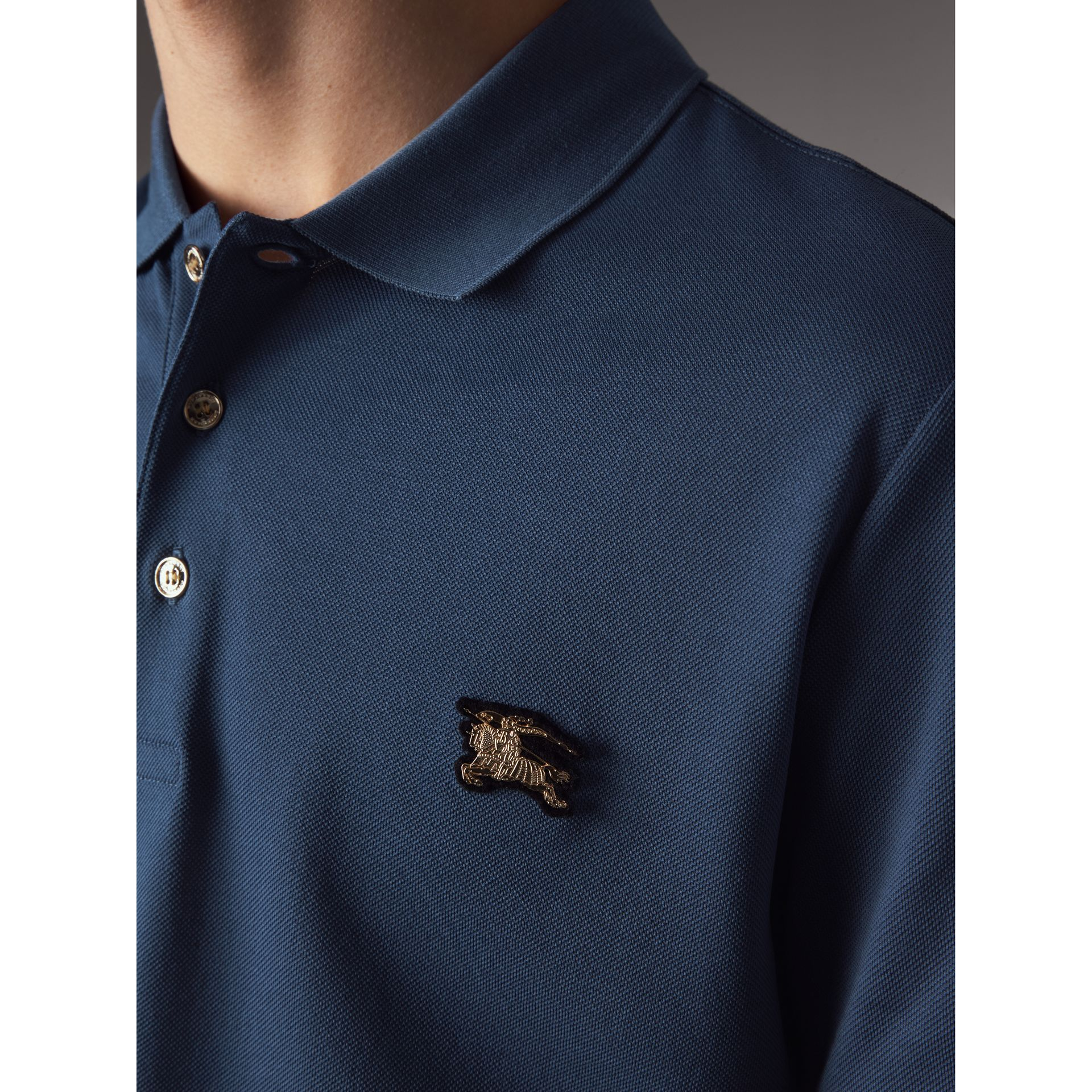Cotton Piqué Polo Shirt in Steel Blue - Men | Burberry - gallery image 5
