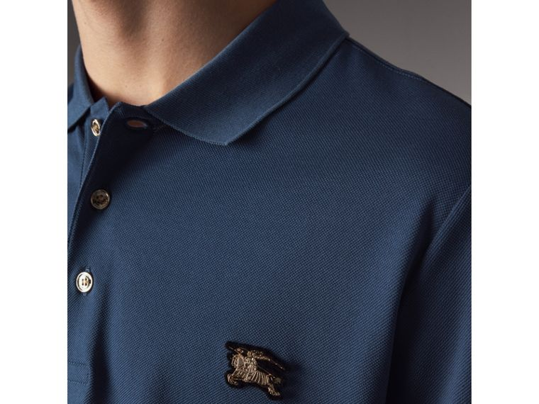 Cotton Piqué Polo Shirt in Steel Blue - Men | Burberry - cell image 4