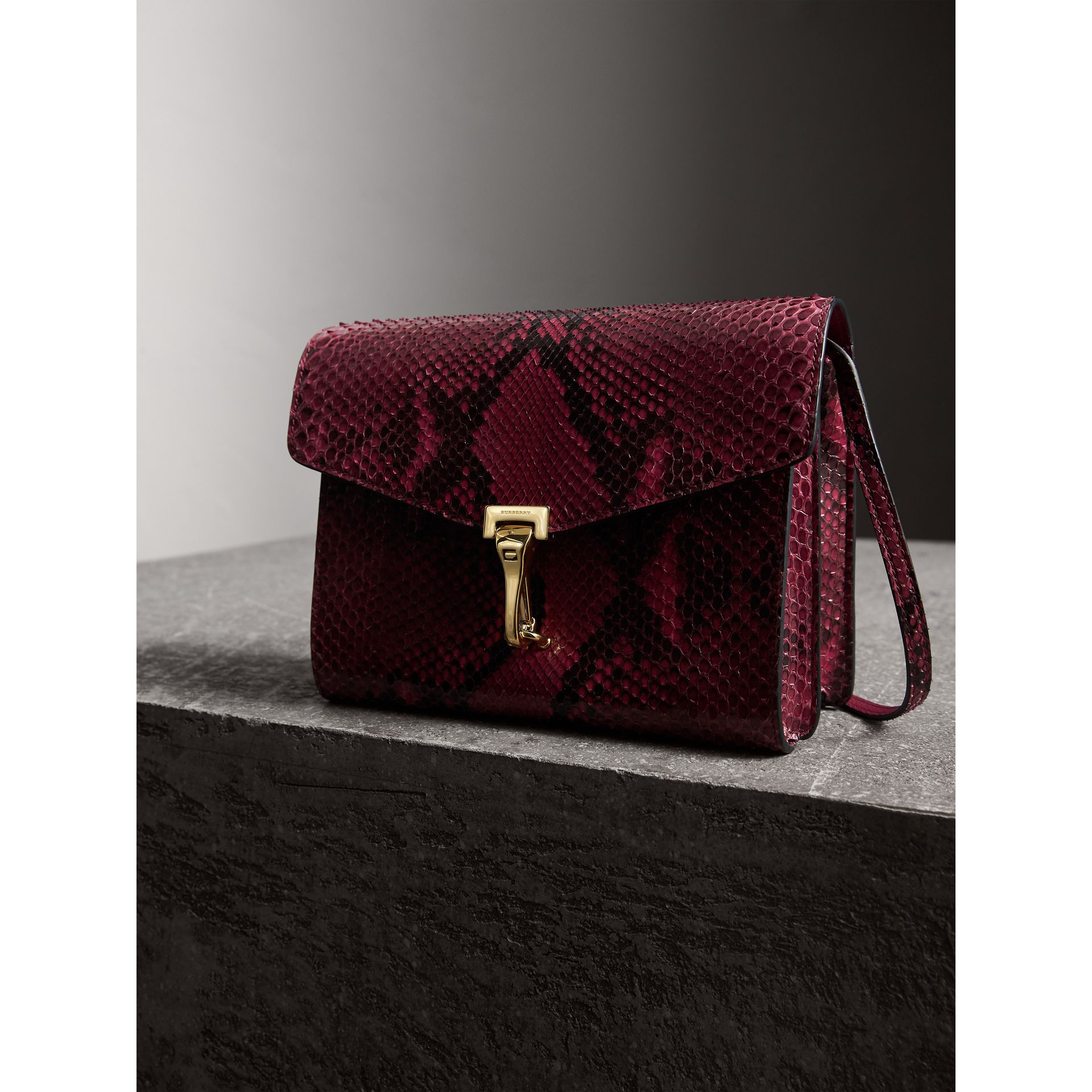 Small Python Crossbody Bag in Claret Pink - Women | Burberry United Kingdom - gallery image 6