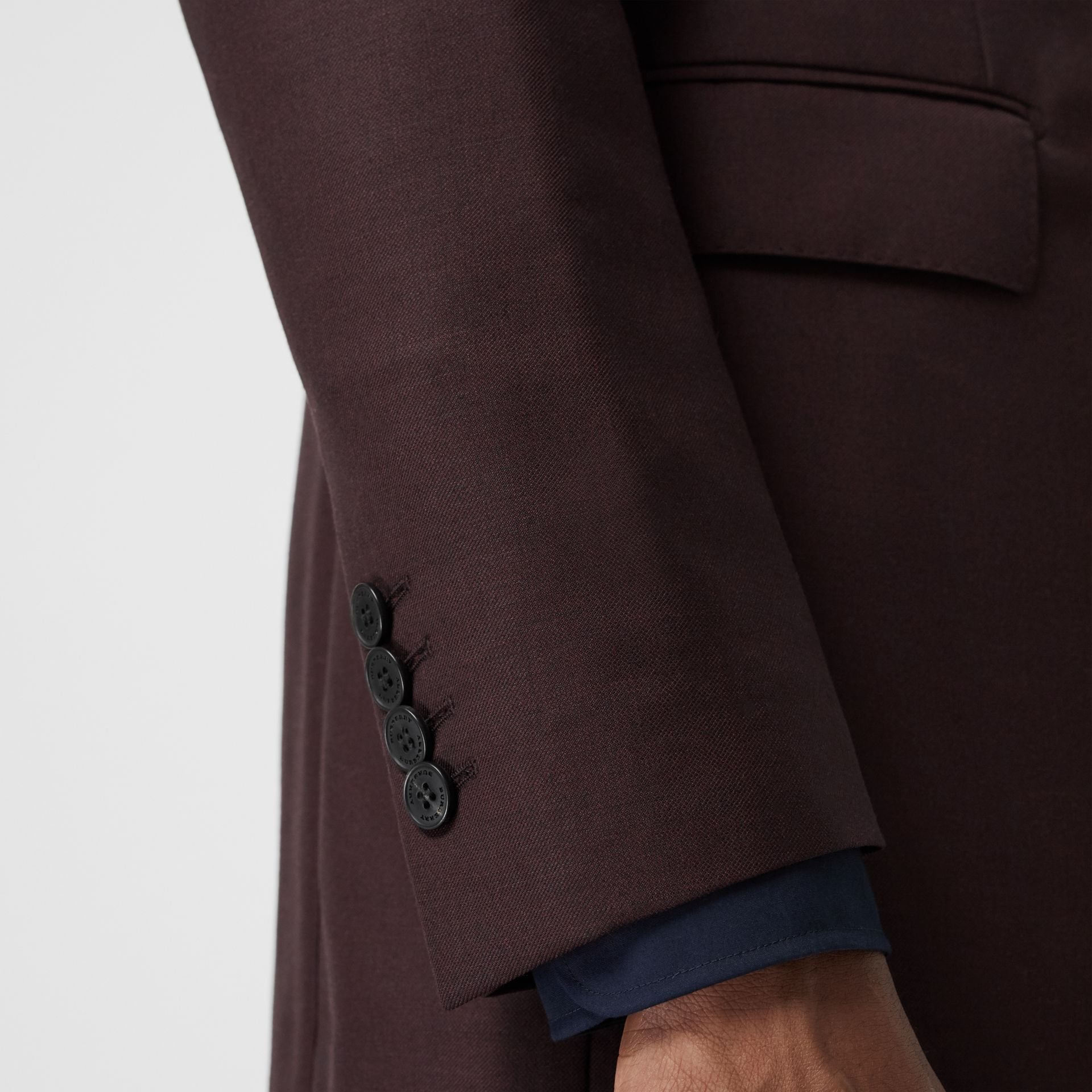 Slim Fit Wool Mohair Silk Suit in Burgundy - Men | Burberry - gallery image 4