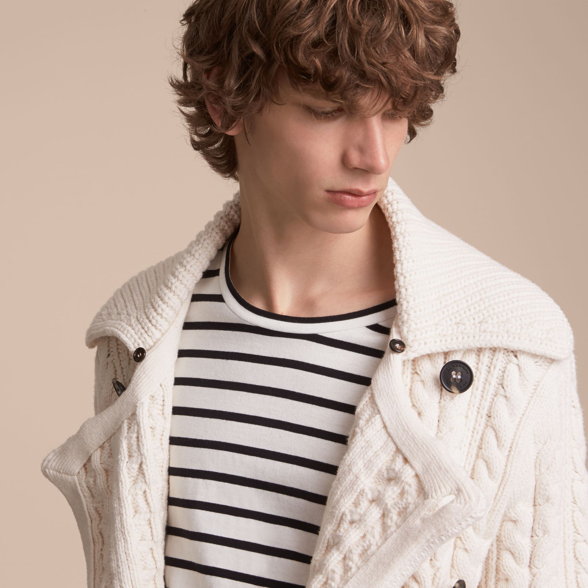 Aran Knit Technical Cotton Jacket in Natural White - Men | Burberry - gallery image 5