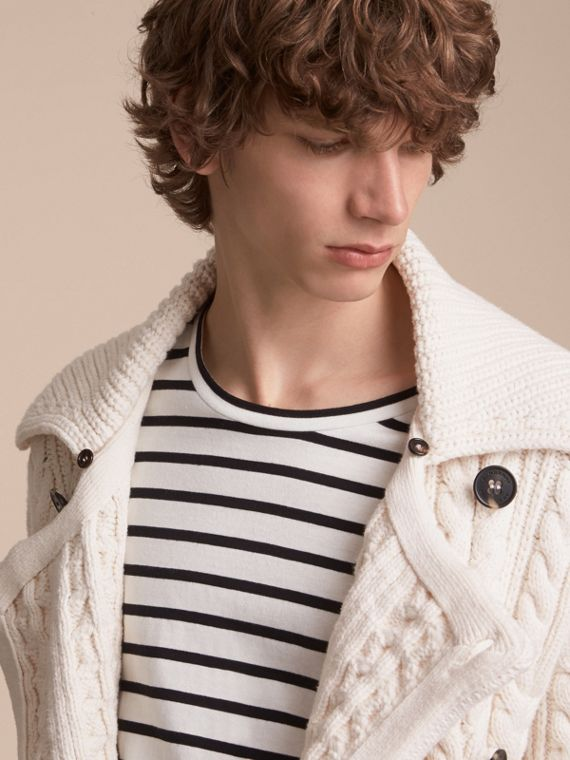 Aran Knit Technical Cotton Jacket in Natural White