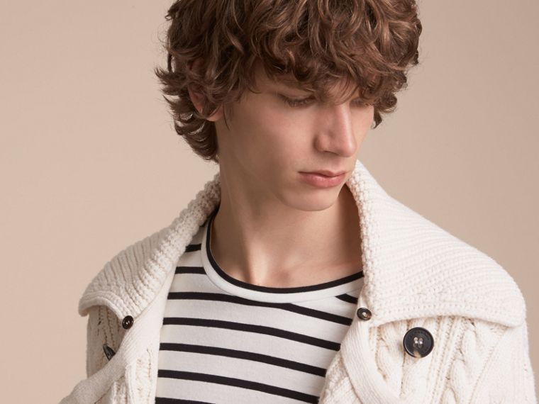 Aran Knit Technical Cotton Jacket in Natural White - Men | Burberry - cell image 4