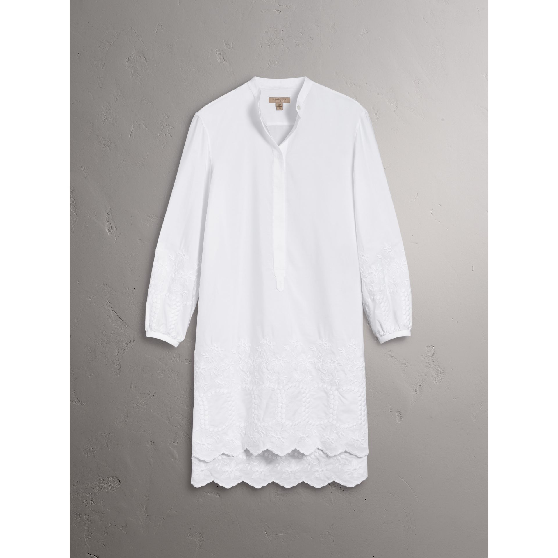 Embroidered Cotton Poplin Shirt Dress in White - Women | Burberry - gallery image 3