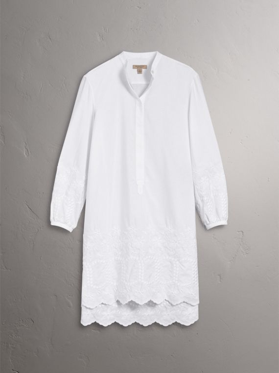Embroidered Cotton Poplin Shirt Dress in White - Women | Burberry Singapore - cell image 3