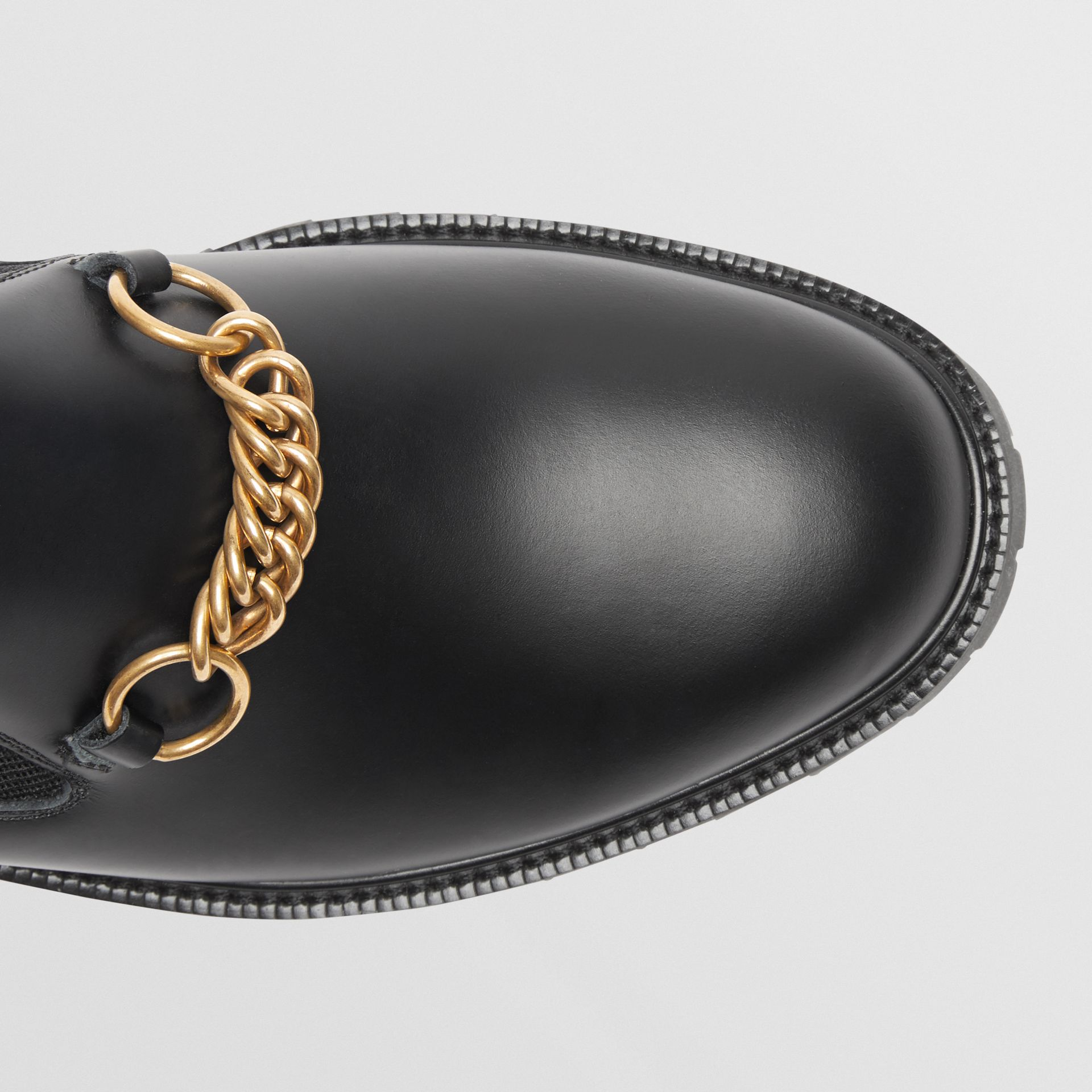 Link Detail Leather Shoes in Black - Men | Burberry - gallery image 1