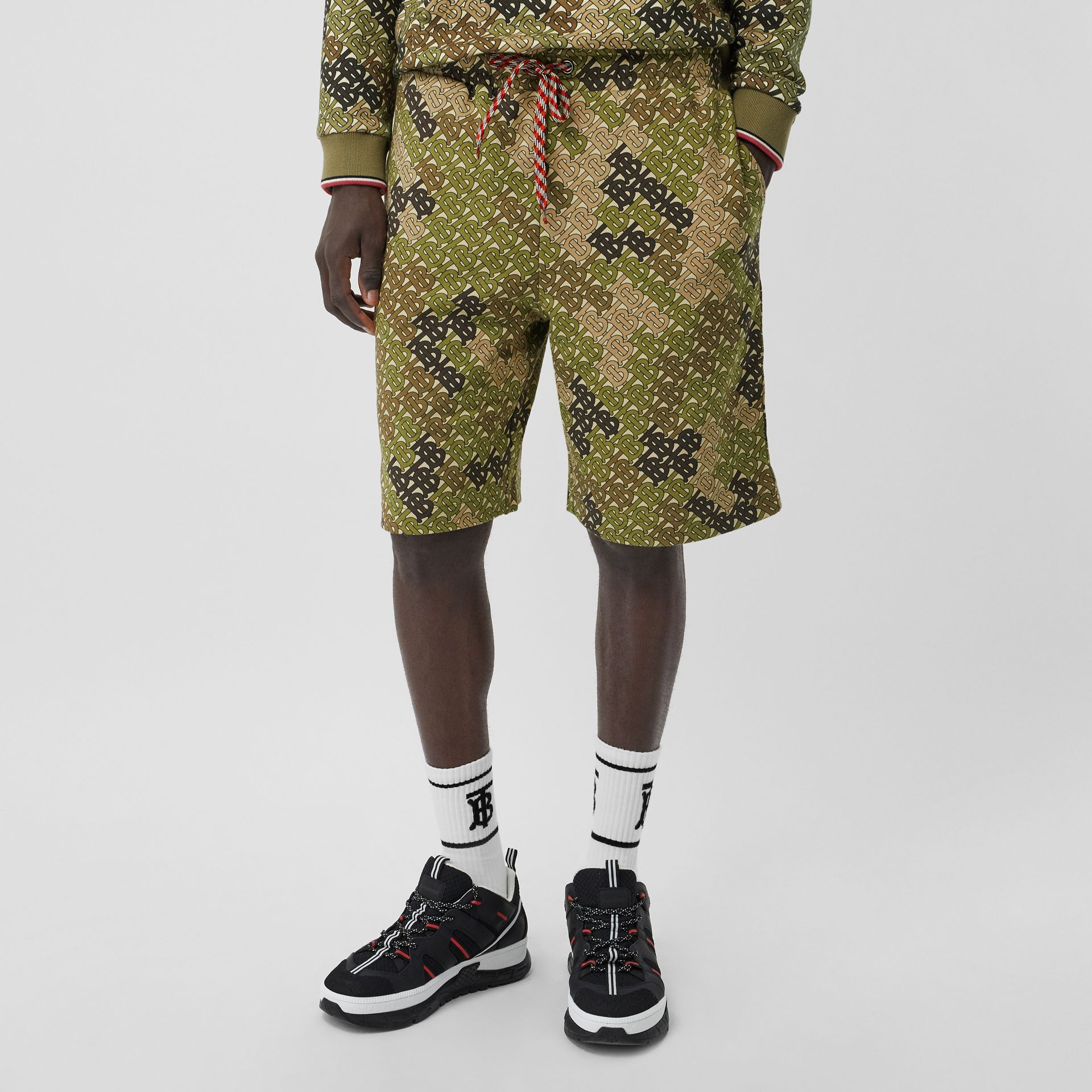 Monogram Print Cotton Drawcord Shorts in Khaki Green | Burberry - gallery image 4