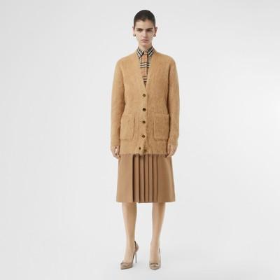 Burberry - Rebeca con cuello de pico en mezcla de seda, angora y lana - 1