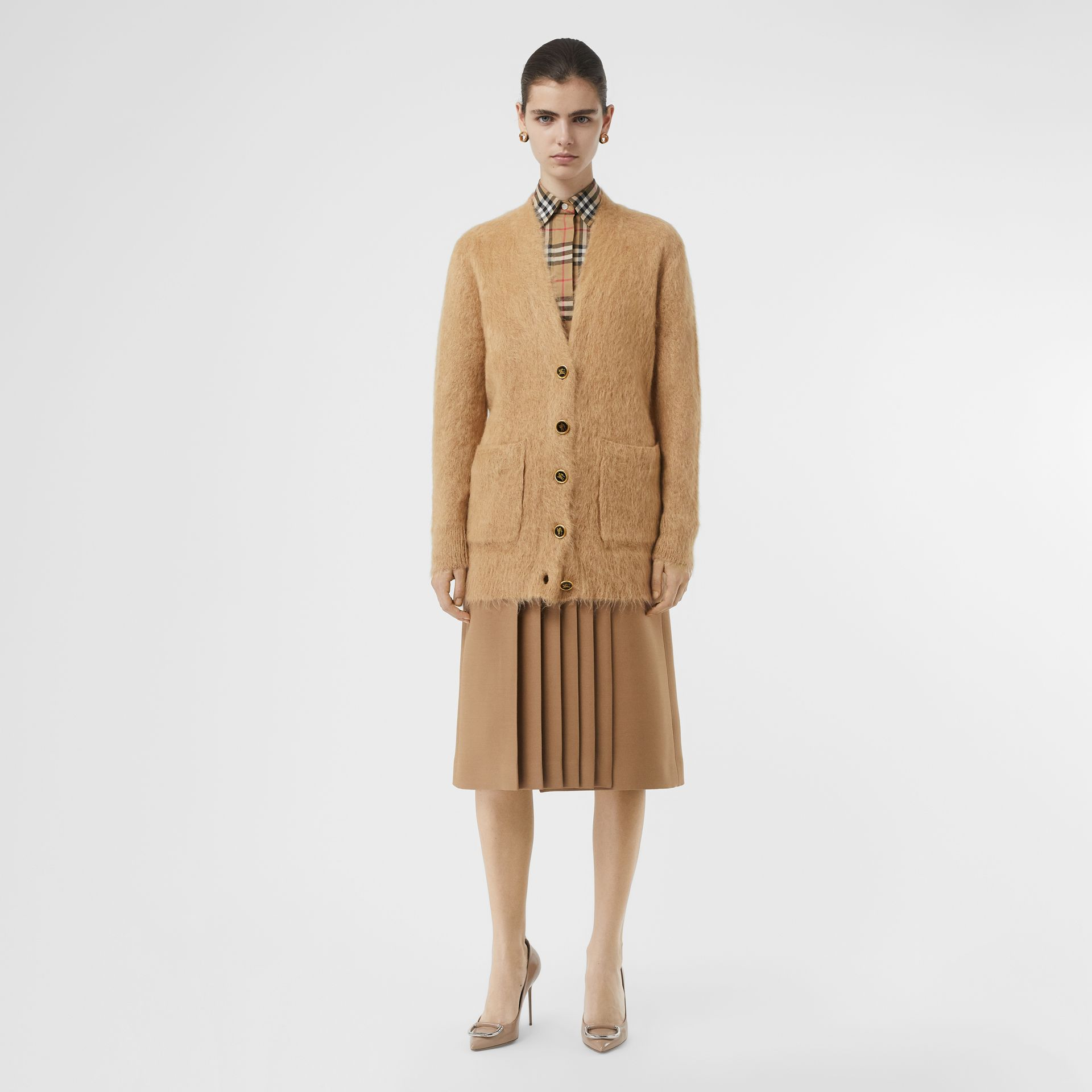 Silk Mohair Wool Blend V-neck Cardigan in Light Camel - Women | Burberry - gallery image 0