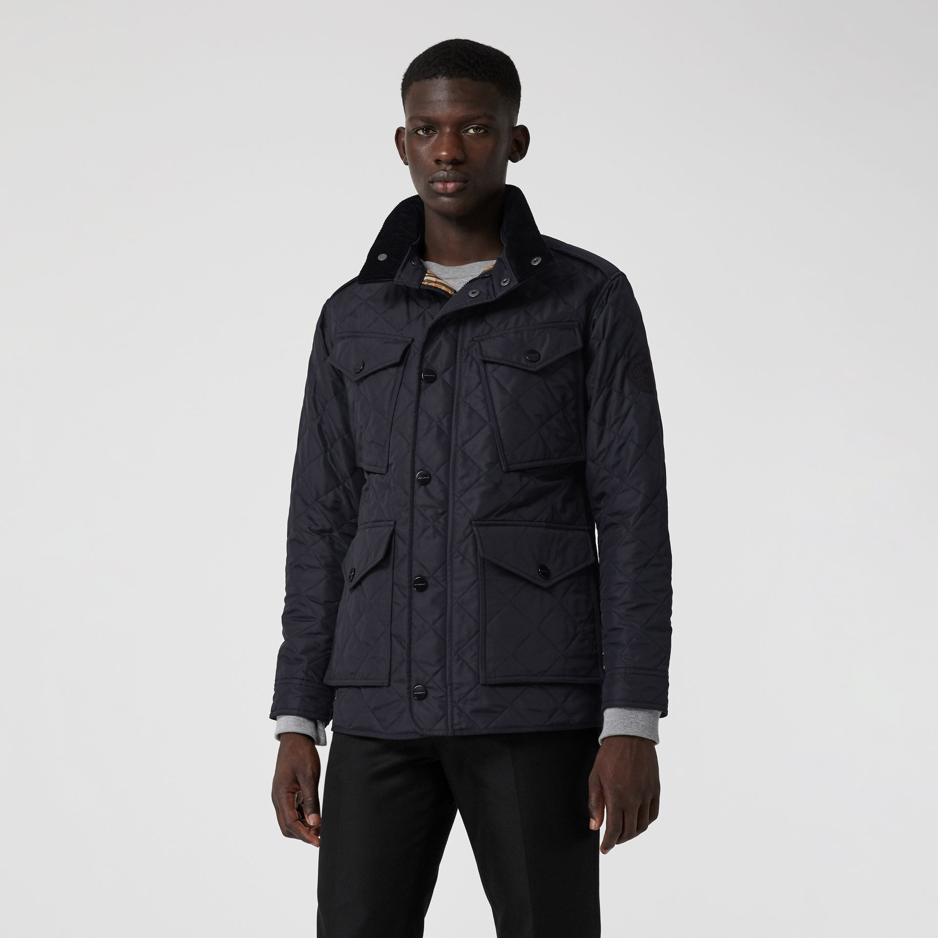 Diamond Quilted Thermoregulated Field Jacket in Navy - Men | Burberry - gallery image 5
