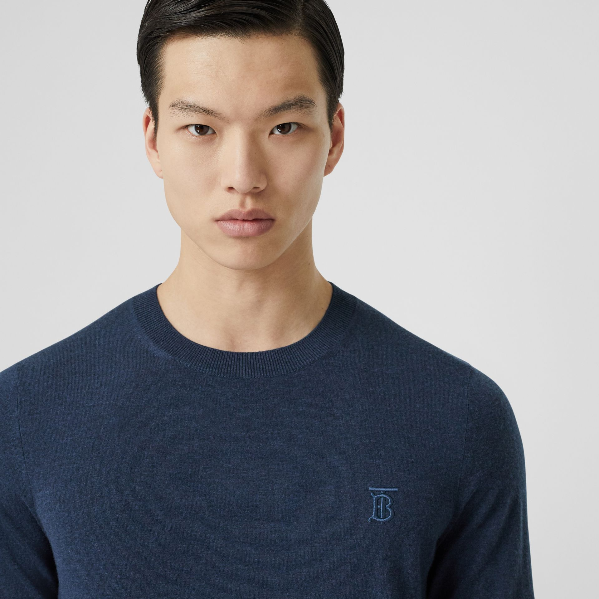 Monogram Motif Cashmere Sweater in Uniform Blue Melange - Men | Burberry - gallery image 1